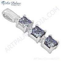New Extra Shine Cubic Zirconia Gemstone Silver Pendant