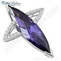 Hot World ! Large Antique Amethyst & Cubic Zirconia Silver Pendant