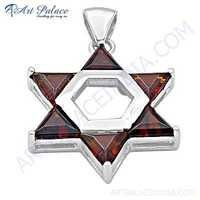 Hot! Garnet Star Style Gemstone Silver Pendant
