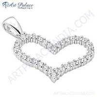 Romantic Heart Classic Cubic Zirconia Silver Pendant