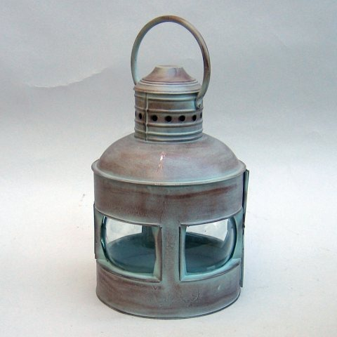 NAUTICAL ROUNDED LANTERN  ANTIQUE 4 SIDED 14