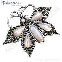 Pretty Butterfly Style Synthetic Gemstone Silver Pendant