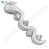 New Stylish Cubic Zirconia Sterling Silver Pendant