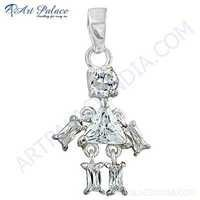 Latest Fashion Cubic Zirconia Gemstone Silver Pendant