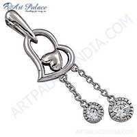 Rocking Heart Style Cubic Zirconia Silver Pendant