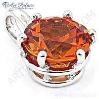 New Extra Shine Red Glass Gemstone Silver Pendant