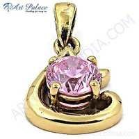 Unique Style Gemstone Gold Plated Silver Pendant With Pink Cubic Zirconia