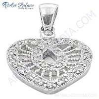 Exclusive Cubic Zirconia Heart Silver Pendant