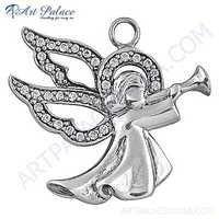 Cute Angel Style Cubic Zirconia Silver Pendant