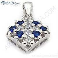 Classy Blue Glass & Cubic Zirconia Gemstone Silver Pendant