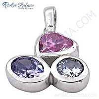 Delicate Cubic Zirconia Gemstone Silver Pendant