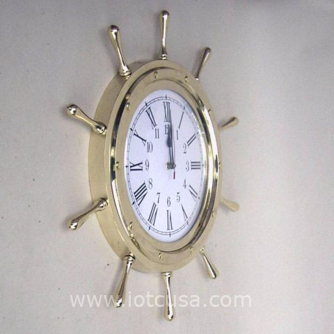 NAUTICAL BRASS SHIP WHEEL CLOCK 18