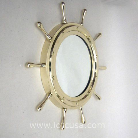 NAUTICAL BRASS SHIP WHEEL MIRROR 18