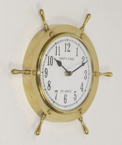 NAUTICAL BRASS SHIP WHEEL CLOCK 11