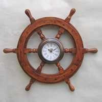 NAUTICAL WOODEN TRAIN SHIP WHEEL CLOCK 18