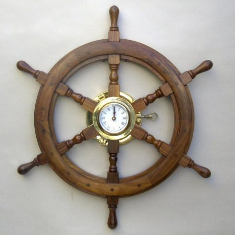 NAUTICAL WOODEN SHIP WHEEL PORTHOLE CLOCK 24