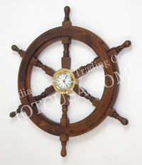 NAUTICAL WOODEN SHIP WHEEL CLOCK  24