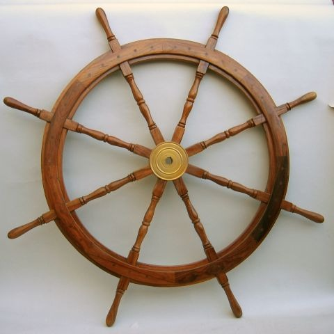 NAUTICAL WOODEN SHIP WHEEL 48