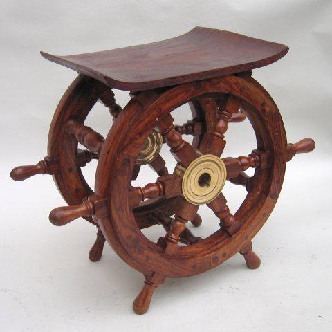 NAUTICAL WOODEN SHIP WHEEL TABLE 18