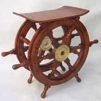 NAUTICAL WOODEN SHIP WHEEL TABLE 24