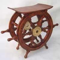NAUTICAL WOODEN SHIP WHEEL TABLE 24