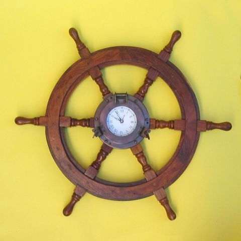 NAUTICAL WOODEN SHIP WHEEL IRON PORTHOLE 24