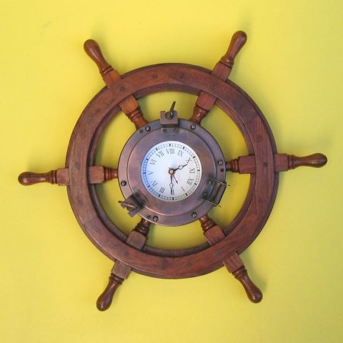 NAUTICAL WOODEN SHIP WHEEL IRON PORTHOLE CLOCK  18