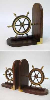 NAUTICAL WOODEN BOOK END PAIR BRASS FITTED 7