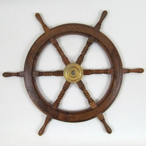 NAUTICAL WOODEN SHIP WHEEL BRASS FITTED 30