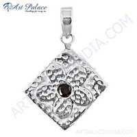 Valuable Garnet Gemstone Sterling Silver Pendant