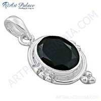 Indian Touch Black Onyx Gemstone Silver Pendant