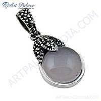 Fashionable Rose Quartz Gemstone Silver Pendant