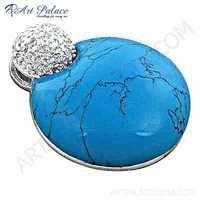 Fabulous Cubic Zirconia & Turquoise Gemstone Silver Pendant