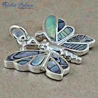 Cute Butterfly Meena Silver Pendant