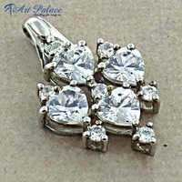 Classic Cubic Zirconia Sterling Silver Pendant