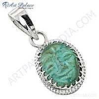Truly Designer Turquoise Gemstone Silver Pendant