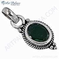 Indain Designer Green Onyx Sterling Silver Pendant