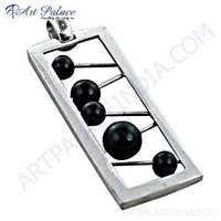 Musical Instruments Style Black Onyx Gemstone Silver Pendant
