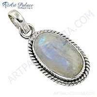 Victorian Rainbow Moonstone Gemstone Sterling Silver Pendant