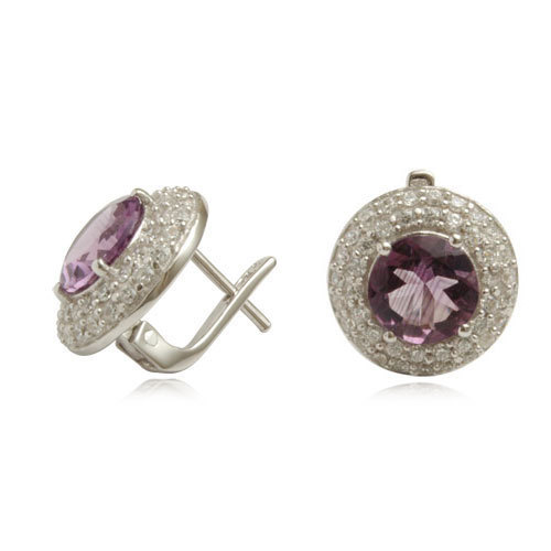 pave setting silver earrings, cz diamond amethyst  tops, designer costume  in 925 silver
