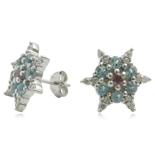 cluster earrings design, star shaped gemstone, 925 sterling silver earring with blue topaz
