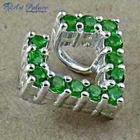 Sensational Green Glass Sterling Silver Pendant