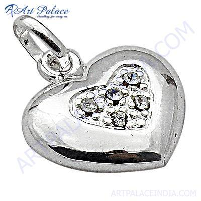 Trendy Heart Style Cubic Zirconia Silver Pendant