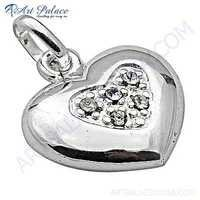 Trendy Heart Style Cubic Zirconia Silver Pendant