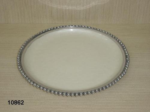 Aluminum White Enameled Round Fruit Platter