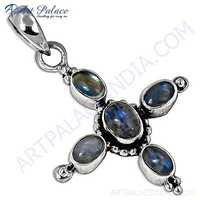 Elegant Prenite Gemstone Silver Pendant