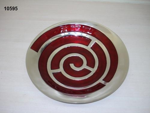 Red Swirl Design Fruit Bowl Round