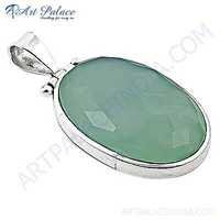 Large Chalce Gemstone Sterling Silver Pendant