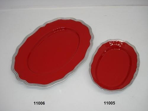 Aluminum Red Enameled Tray