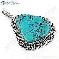 Victorian Designer Turquoise Gemstone Silver Pendant